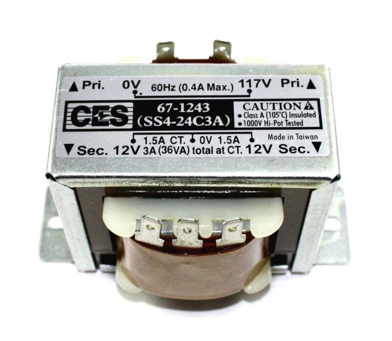 Power Transformer, 117VAC -> 24VAC Center Tap (12_0_12), 3A