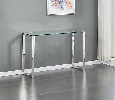 Tempered Glass Console Table Stainless Steel Chrome Legs Living Room Furniture