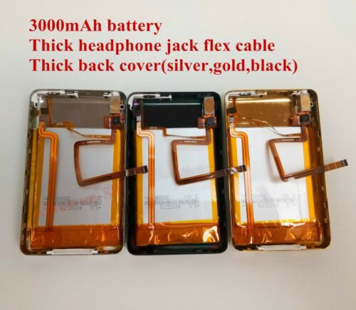 3000mAh Battery+Back Cover Upgrade kits iPod Video 30GB Classic 160GB - 3 Colors