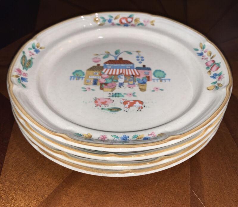 "International HEARTLAND VILLAGE #105 Stoneware Set of 4 Salad Plates 7.5"""