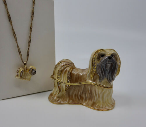 * WOW! LHASA APSO DOG BEJEWELED TRINKET BOX WITH MATCHING NECKLACE *