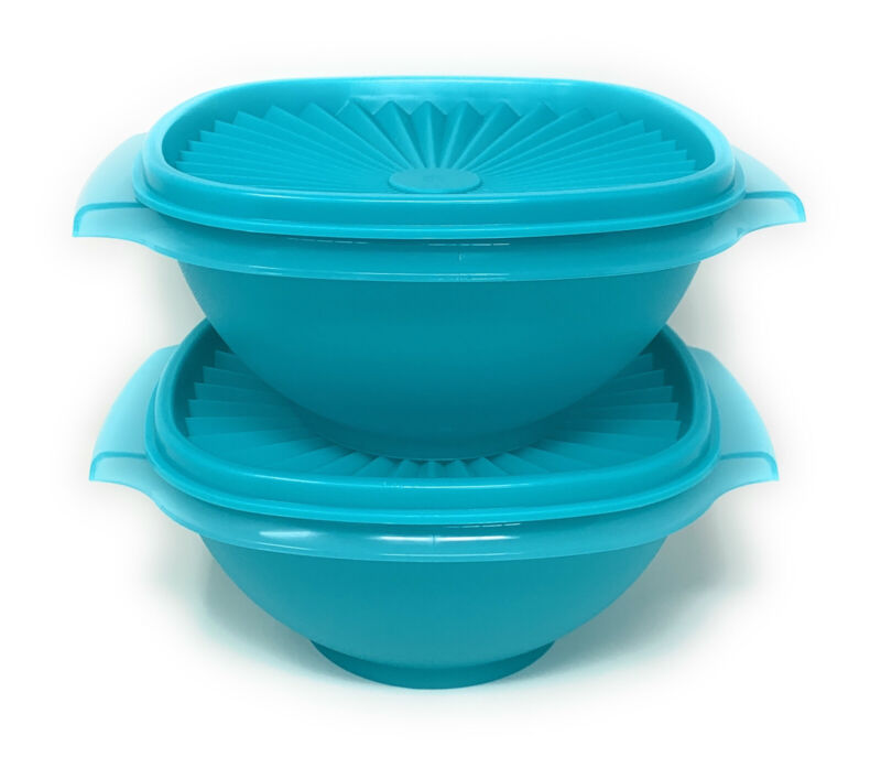 Tupperware Classic Servalier Bowls Set of 2 (4) Cups in Teal NEW