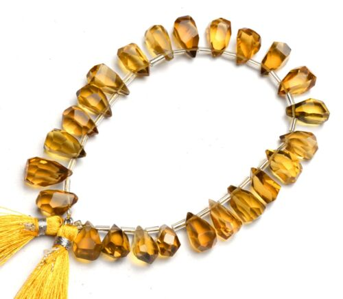"Natural Gem Honey Quartz Nugget Cut Drop Shape Beads 8"" Jewelry Supplies 134Cts."