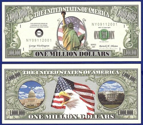 2- Miss Statue of Liberty Million Dollar Bills -Novelty - Collectible- MONEY-B1