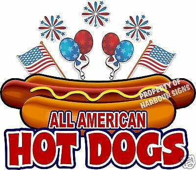 All American Hot Dogs 10 Decal Concession Food Truck Hotdog Cart Vinyl Sticker