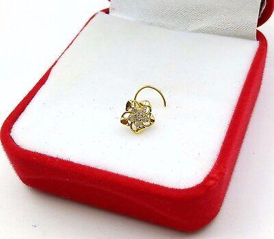 TINY STAR 18K GOLD NOSE PIN STUD RING ZIRCONIA STONE SIMPLE JEWEL BEST PRICE