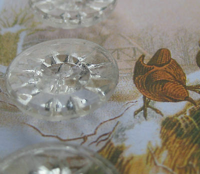 "Set of 4 Vintage 3/4"" Crystal  Starburst Glass Buttons~PreWWII ~ 1920"