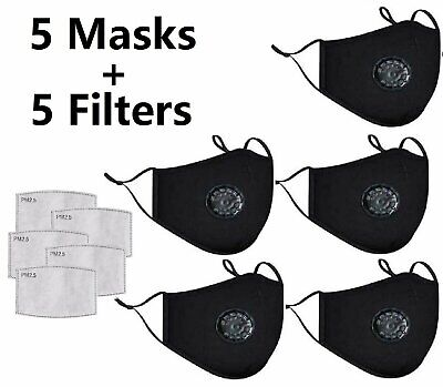 5-Pack Face Mask Reusable Filters Valves Sports Cycling Washable Covering Masks Accessories