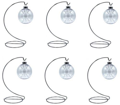 6 Sets - Silver Ornament Display Stands & 67mm Clear Plastic Ornament Balls