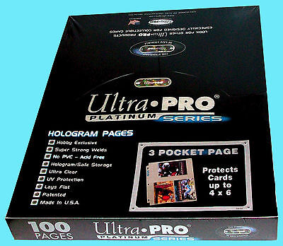 100 ULTRA PRO PLATINUM 3-POCKET 4x6 Pages Sheets Photo Currency Coupon Post Card](Post Coupons)