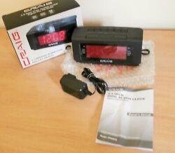 Craig Dual Alarm Clock w/ Digital PLL FM Radio in Black 1.2 inch Red Display