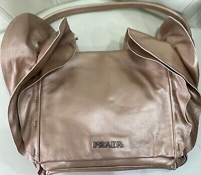 NEW Prada Nappa Ruffled Shoulder Bag Beige Mordor Gold with Bag Authentic Card