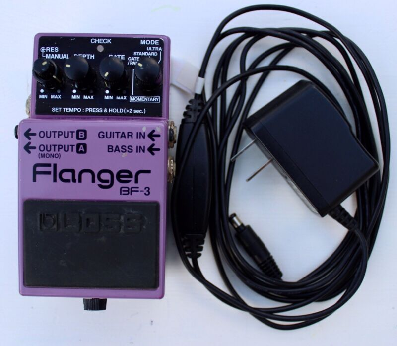 *Boss BF-3 Flanger Pedal with Power Supply*