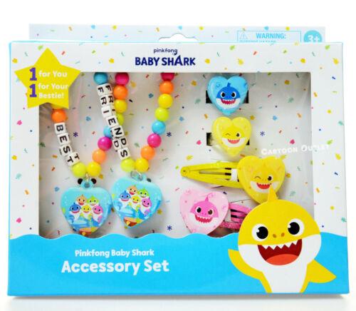 Baby Shark Best Friends Bracelets Gift Set Toy Jewelry Girls Hair Clips Rings