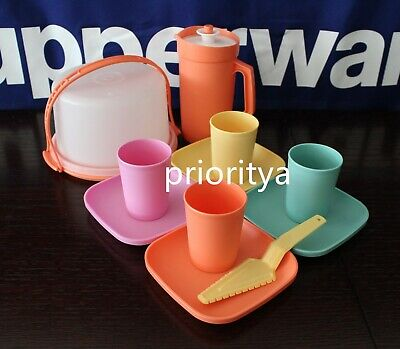 Tupperware Kids Toy 11 Pc Mini Tumbler Plate Cake Taker Party Complete Set New