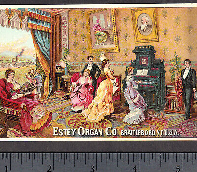 Estey Organ Co Brattleboro VT 1800's old Factory View Music Victorian Trade Card