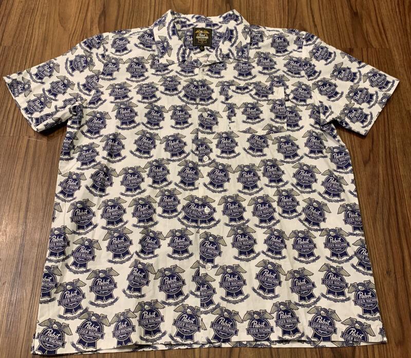 PABST Loser Machine PBR BEER Hawaiian Shirt Mens XL White 100% Cotton