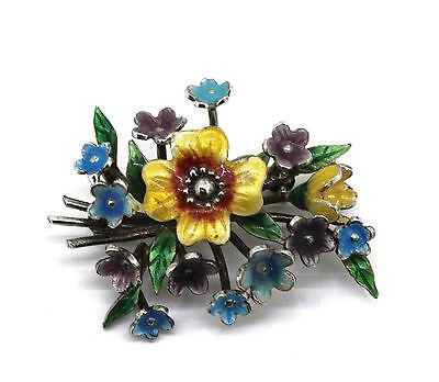 ältere schöne Blumen Brosche - 925er Silber - Emaille