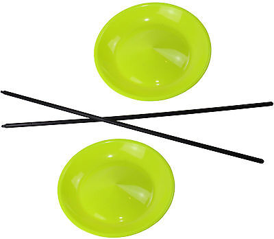 2 Jonglierteller in der Farbe Neongelb incl. 2 Kunststoffstäben
