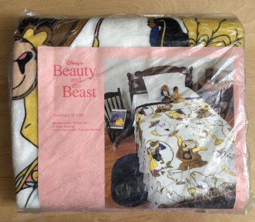"""Vintage Chatman Disney Beauty and the Beast Polyester Blanket Twin/Full 72""""x90"""""""