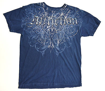 Affliction Eagle Wings Blue Large Shirt New - Blue Eagle Wings