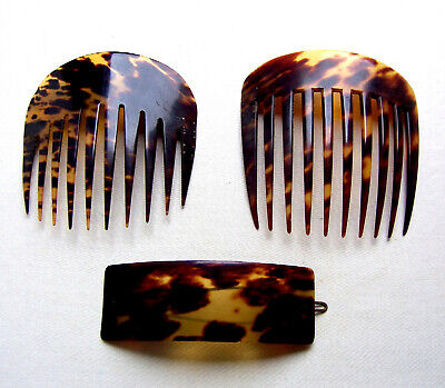 Victorian Wigs, Hair Pieces  | Victorian Hair Jewelry Three Victorian faux tortoiseshell hair accessories combs and barrettes $120.00 AT vintagedancer.com