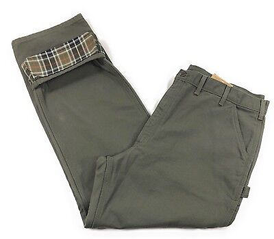 Carhartt Washed Duck Work Dungaree Flannel Lined Pants Mens 44x34 Carpenter Moss Carhartt Washed Duck Dungaree Flannel