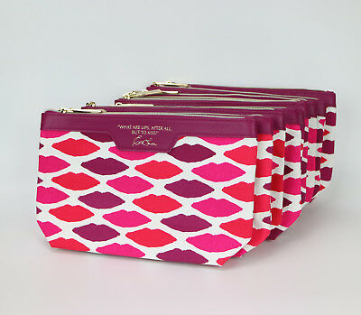 Lot of 10X Estee Lauder Red Lips Print Cosmetic Makeup Bag Case Pouch
