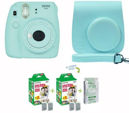 Fujifilm Instax Mini 9 Instant Camera Ice Blue w/ Custom Case + Fuji Instax Film
