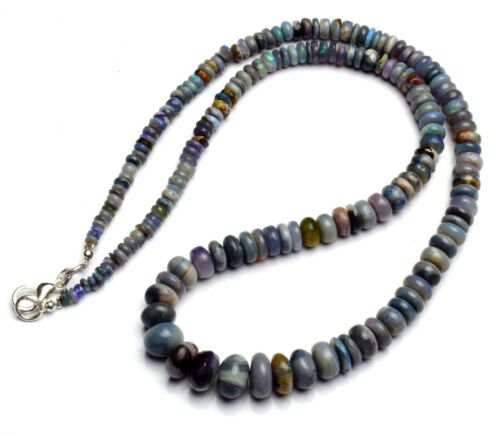 """Natural Gem Sugilite & Black Opal 3 to 9mm Smooth Rondelle Beads Necklace 18"""""""