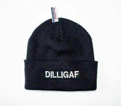DILLIGAF EMBROIDERED MOTORCYCLE  UPTURNED BEANIE HAT/biker/outlaw