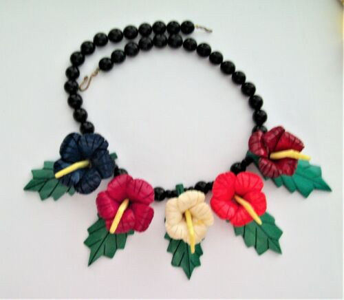 Vintage Hand Carved Wood Necklace with Colorful Iris Flowers and Green Leaves
