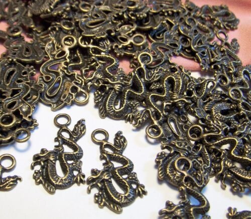 50 BRONZE METAL DRAGON CHARMS-MEDIEVAL-FANTASY-DROPS-FINDINGS-JEWELRY MAKING LOT