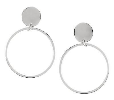 Creolen in Silberfarbe Runde Ohrringe Offen Kreis Hängeohrringe Edelstahlschmuck (Offene Kreis Ohrringe)