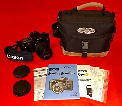 Canon Rebel G EOS 35mm Camera, 35-80 mm Lens, Thick Padded Case, Instructions