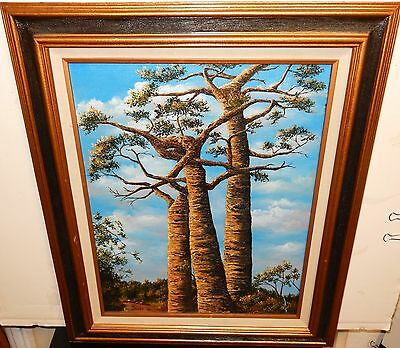 Janet Twisted Trees Original Oil On Canvas Landscappe Painting