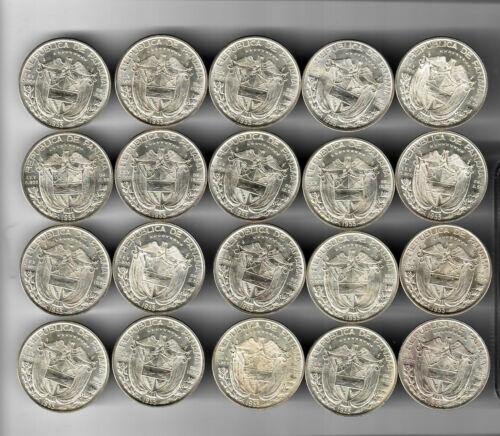Roll of 20 - 1953 Panama 1/2 Balboas - Nice Uncirculated Coins!