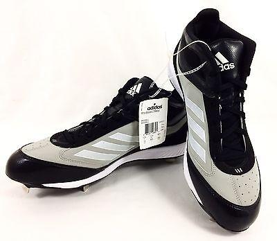 6d31be99e9458 Adidas Baseball Cleats Xtra Bases 2 Metal Mid Black Gray White Men sz 12  NEW!