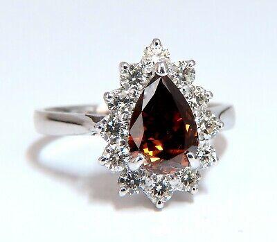 GIA Certified 1.47ct Natural Fancy Orange Brown Diamond Halo Ring  14 Karat 4