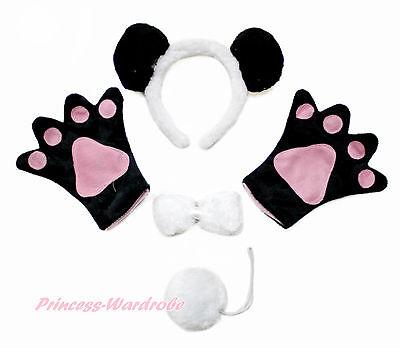 Black White Panda Ear Headband Bow Paw Gloves Unisex Halloween Party Costume Set - Panda Paws Costume