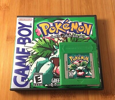 Pokemon Green Version w/ New Custom Case Nintendo Game Boy Color GBC -US Seller!