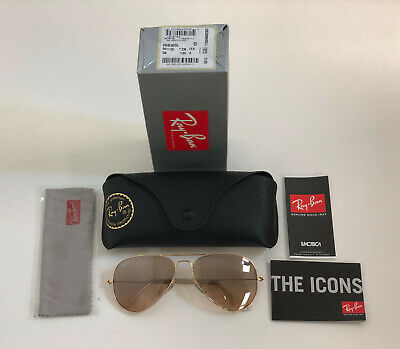 Ray-Ban Aviator RB3025 001/3E 58mm Gold/Crys.Brown-Pink Silver Mirror Sunglasses
