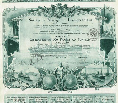 FRANCE TRANSOCEANIC NAVIGATION COMPANY  stock certificate/bond 1920