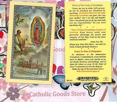 Our Lady of Guadalupe + St Juan Diego words from Our Lady-Laminated Holy Card V1