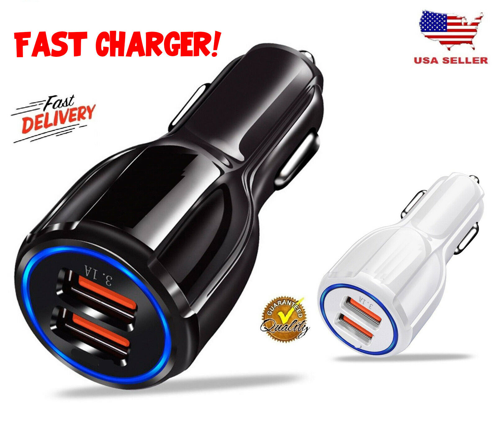 Dual 12V USB Fast Quick CAR Charger Adapter  For iPhone