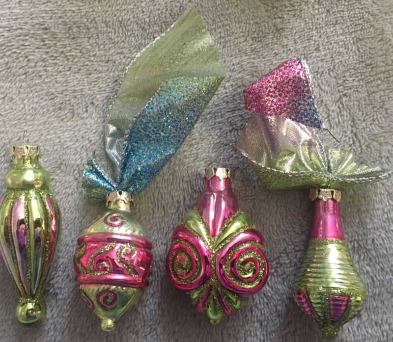 Antq Feathertree Ornaments Sculpted Mercury Glass bows&Pink&Gold Dainty Elegant