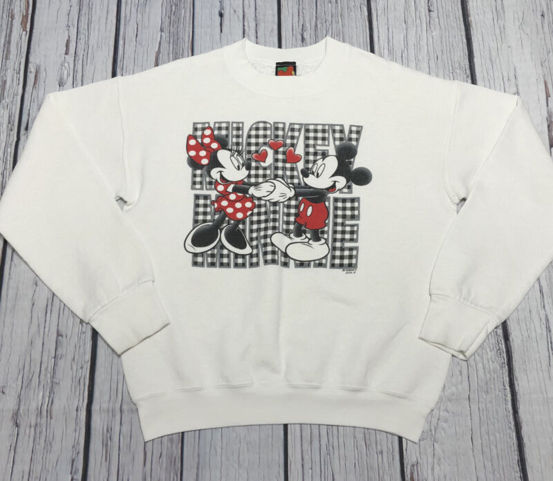 Vintage Mickey Unlimited Sweater Youth Knit Minnie And Mickey Hearts Size M/L