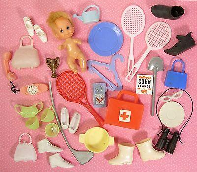 Vintage Lot Barbie Ken Skipper Sized Clone Accessories Shoes Glasses Fun Stuff!