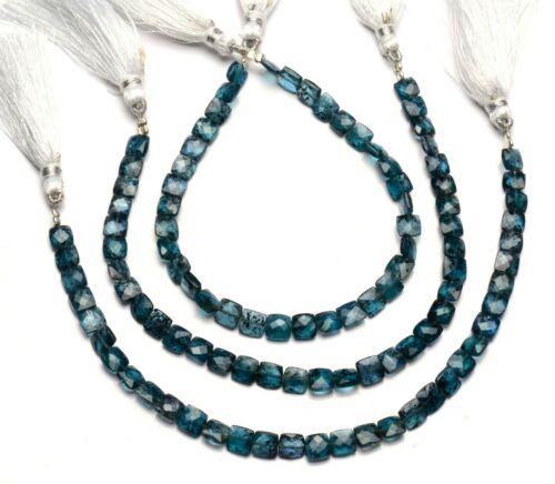 """Natural Gem Green Kyanite 6mm Size Faceted Cushion Shape Beads 8"""" Strand"""