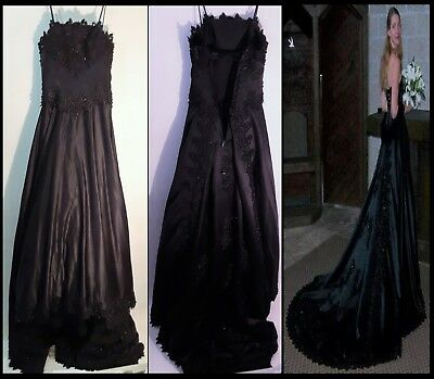 BLACK WEDDING DRESS by RE QUO (SIZE 4 WOMEN) 8 FT LENGTH SLEEVELESS GOTHIC STYLE